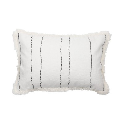 White and Black 14 x 22 inch Decorative Cotton Throw Pillow Cover with Insert and Hand Tied Fringe - Foreside Home & Garden