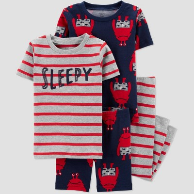 Toddler Boys' 4pc Monster Pajama Set - Just One You® made by carter's Red 2T
