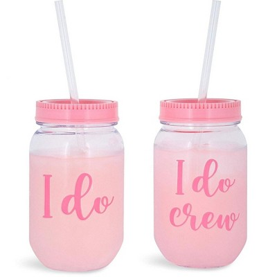 Blue Panda I Do Crew Plastic Mason Jar for Bachelorette Party and Bridal Shower (11+1)