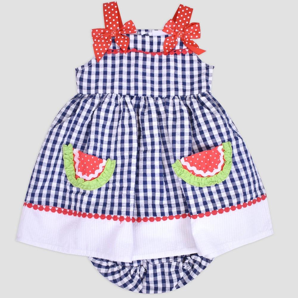 Baby Girls' Gingham Watermelon Seersucker Dress Nate & Annee Navy 12M, Blue