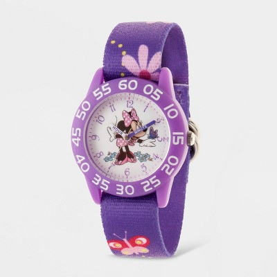 Girls' Disney Minnie Mouse Plastic Time Teacher Hook And Loop Nylon Strap Watch - Purple