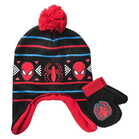 f2ccf3dd68b Boys  Spider-Man Pom Peruvian Fairisle Print Hat With Mitten Set - Marvel    Target