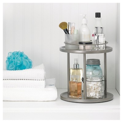 Under Vanity Double Level Spinning Storage Rack Champagne   88 Main : Target