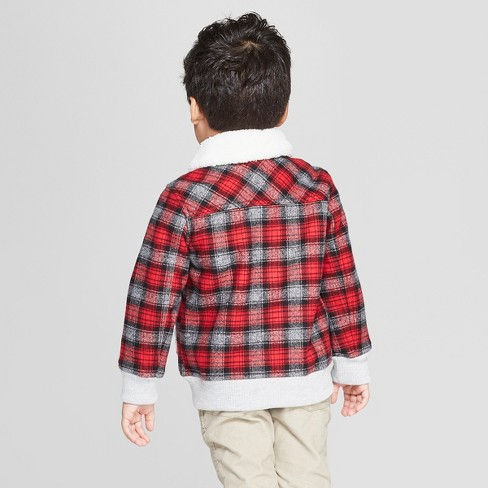 a2d81737 Genuine Kids® from OshKosh Toddler Boys' Sherpa Trucker Track Jacket - Red