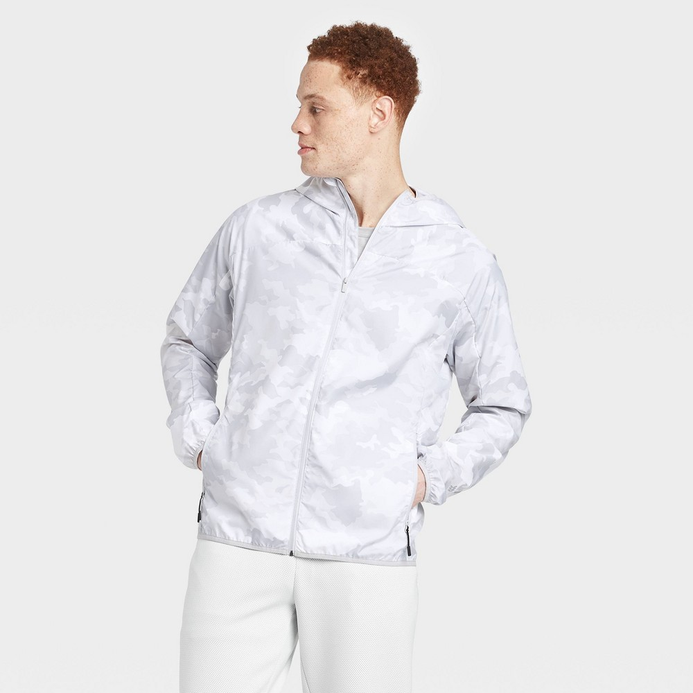 Men's Packable Windbreaker Jacket – All in Motion True White Camo XXL