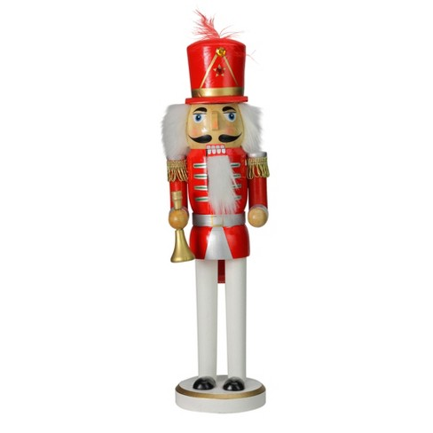 "Northlight 14"" Red, Silver And Gold Wooden Christmas Nutcracker With Horn : Target"