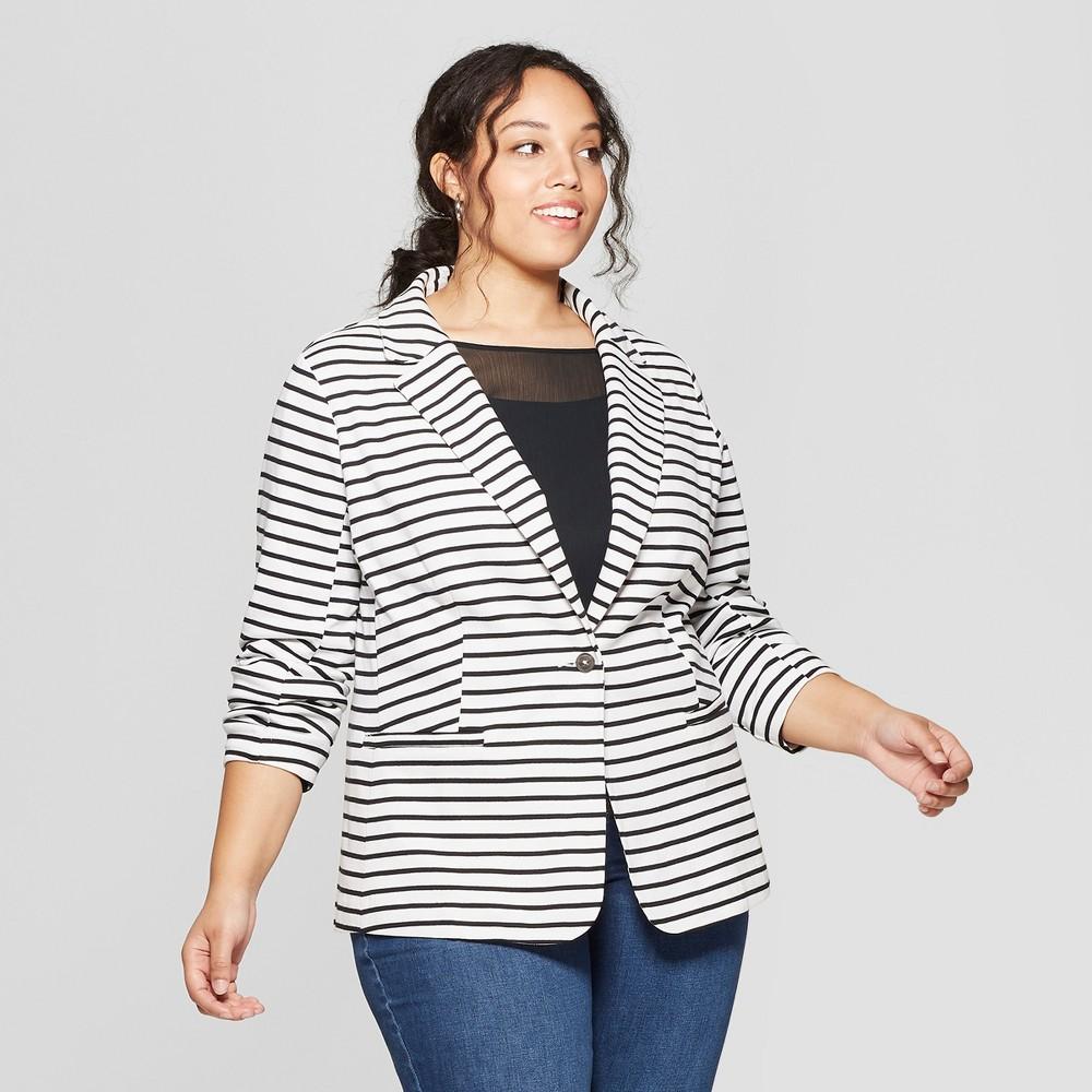 Women's Plus Size Striped Knit Blazer - Ava & Viv Black/White 1X