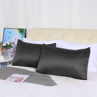 "4 Pcs Queen 20""x30"" Silk Satin Luxury Pillowcase Black  - PiccoCasa"