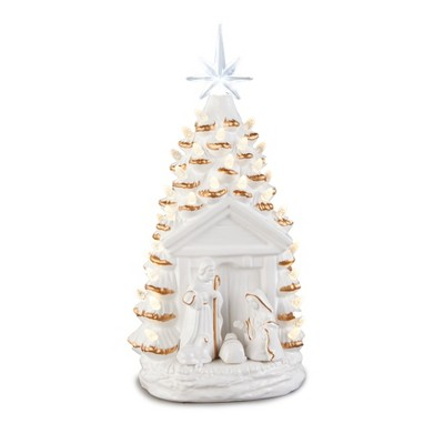 Lakeside Lighted Nativity Tree - Ceramic Christmas Decor with LED Lights for Table/Mantle