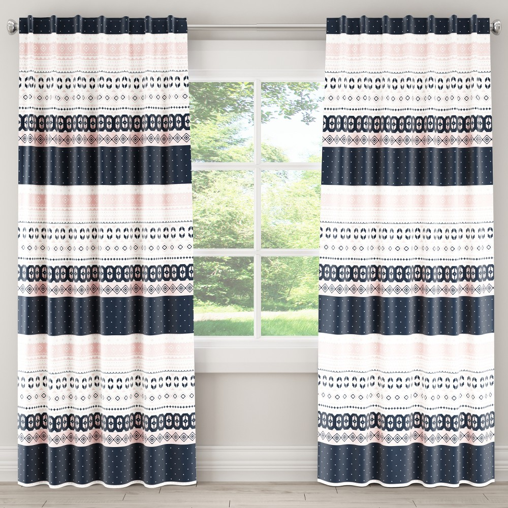 Blackout Curtain Nordic Sweater Navy Blush 84L - Skyline Furniture, Blue