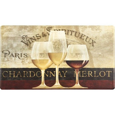 """Home Dynamix 19"""" x 35"""" Parisian Wine Window Kitchen Mat Beige/Red"""