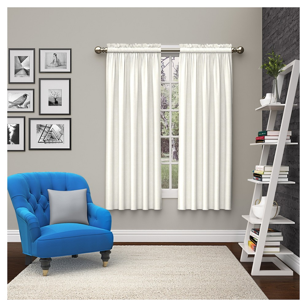 2 Piece Teller Curtain Panels White (28