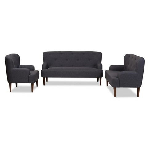 Toni Mid - Century Modern Wood Finish And Fabric Upholstered Button - Tufted 3 - Piece Sofa Set - Baxton Studio - image 1 of 4