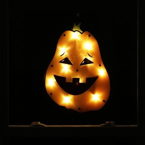 Northlight 13 Holographic Lighted Jack o Lantern Pumpkin Halloween Window Silhouette