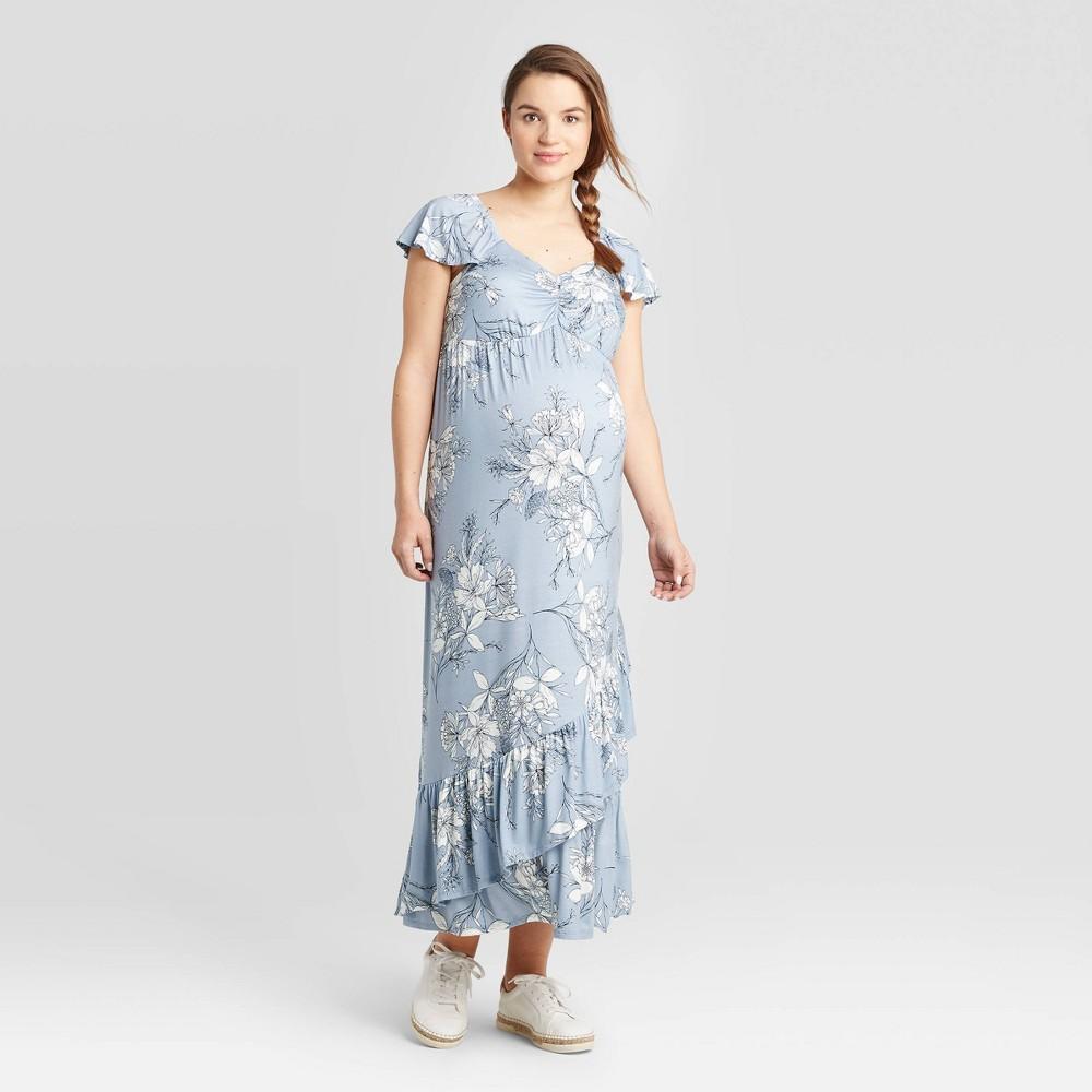 Floral Print Short Sleeve Knit Maternity Dress - Isabel Maternity by Ingrid & Isabel Blue XL