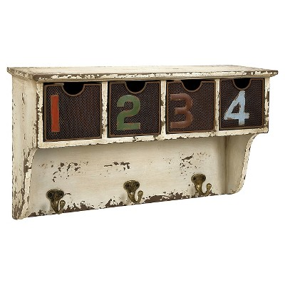 Aurora Distressed Wall Cubby with Hooks