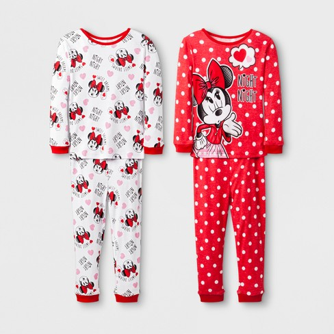 d90dd031a2 Toddler Girls  Disney Mickey Mouse   Friends Minnie Mouse 4pc Pajama ...