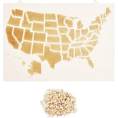 """Juvale Wooden USA Map for Wall Display, Décor and Pinning Cards with 100 Push Pins, 16"""" x 11.5"""""""