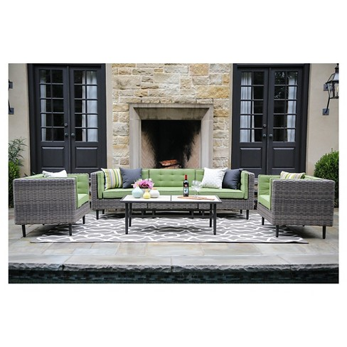 Aimee 6-Piece Deep Seating with Sunbrella Fabric Spectrum - Cilantro - image 1 of 4