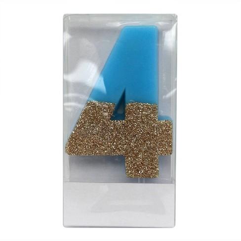Number 4 Glitter Candle Blue/Gold - Spritz™ - image 1 of 1