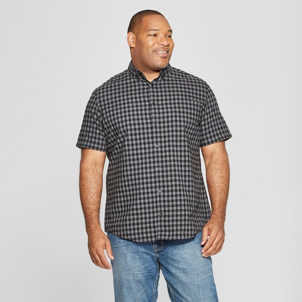 Men's Tall Plaid Standard Fit Short Sleeve Poplin Button-Down Shirt - Goodfellow & Co Charcoal LT, Gray