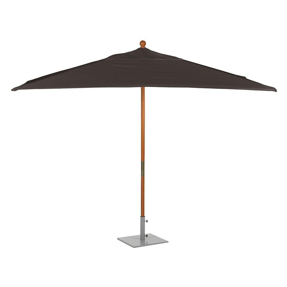 10' Rectangular Sunbrella Market Patio Umbrella - Solid Tropical Hardwood Frame - Black Sunbrella Fabric Shade - Oxford Garden, Brown Black