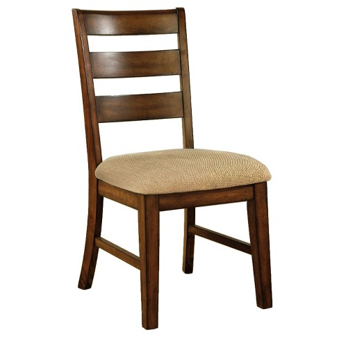 Sun & Pine Ladder Back Fabric Padded Side Chair Wood/Antique Oak (Set of 2) - Sun & Pine Ladder Back Fabric Padded Side Chair Woo : Target