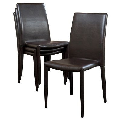 Set of 4 Comstock Bonded Leather Stackable Dining Chair Brown - Christopher Knight Home