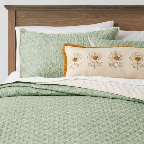 4pc Everett Fl Quilt Set Green, Light Green Quilt Bedding