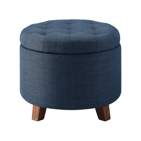 Amazing Tufted Round Storage Ottoman Threshold Inzonedesignstudio Interior Chair Design Inzonedesignstudiocom