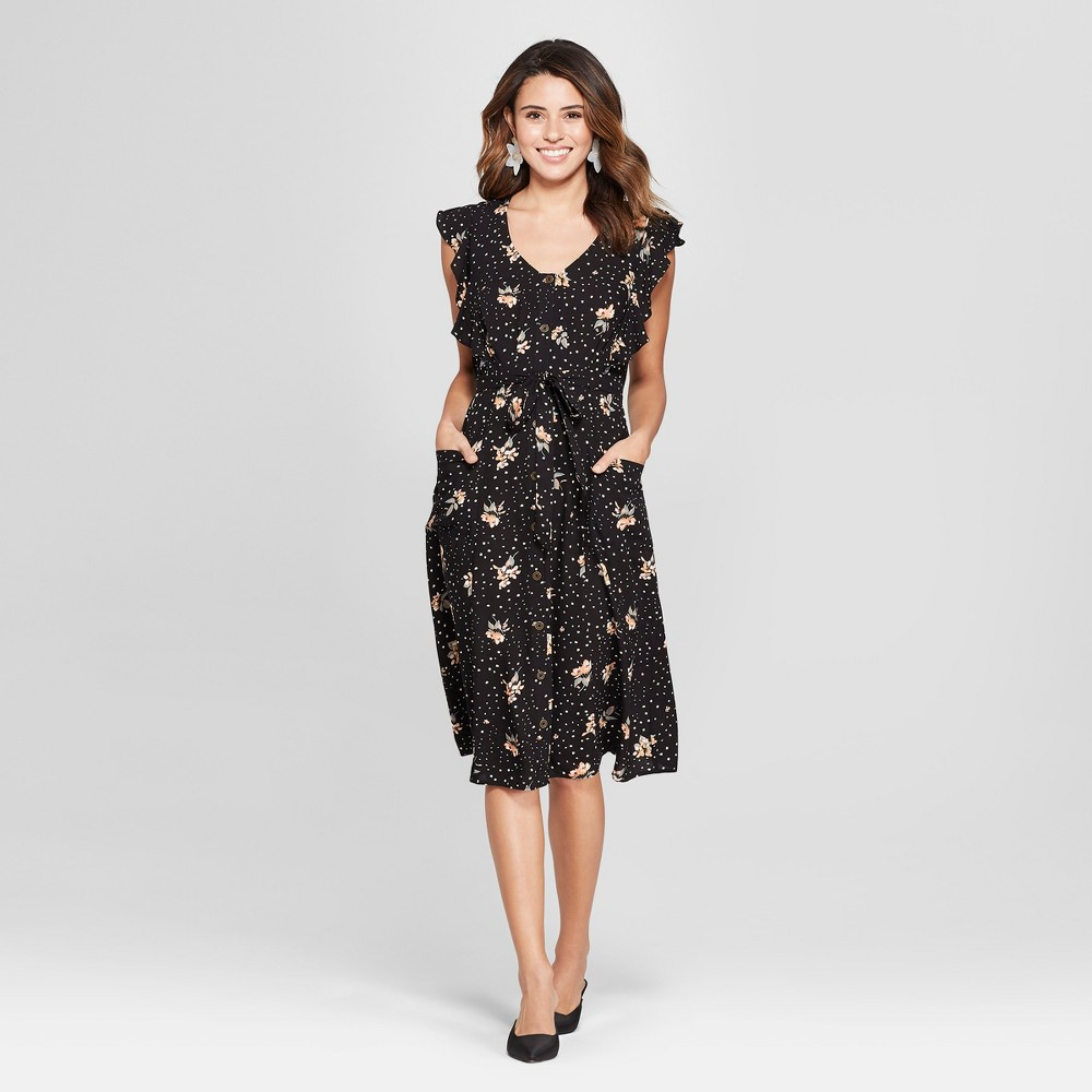 Women's Floral Print Flutter Short Sleeve Button Front Midi Dress - Xhilaration Black S