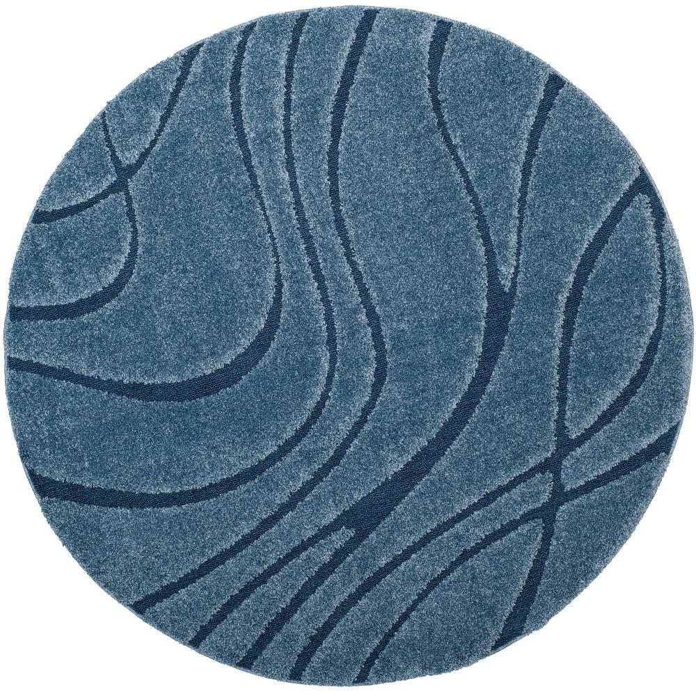 Light Blue Swirl Loomed Round Area Rug 6'7 - Safavieh