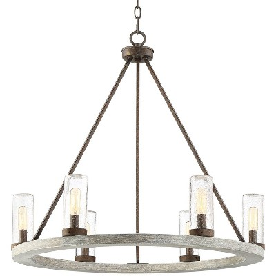 """Franklin Iron Works Gray Wood Bronze Wagon Wheel Chandelier 27"""" Wide Industrial Seeded Glass Shades 6-Light Fixture Dining Room"""