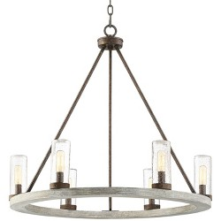 "Franklin Iron Works Gray Wood Bronze Wagon Wheel Chandelier 27"" Wide Industrial Seeded Glass Shades 6-Light Fixture Dining Room"