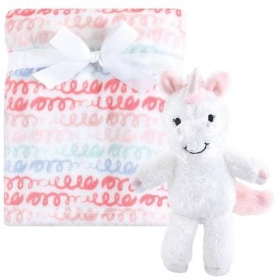 Hudson Baby Unisex Baby Plush Blanket with Toy - Snuggly Unicorn
