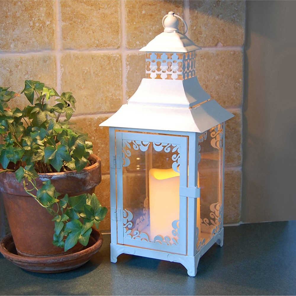 Image of Swirl Metal LED Lantern with Battery Operated Candle White