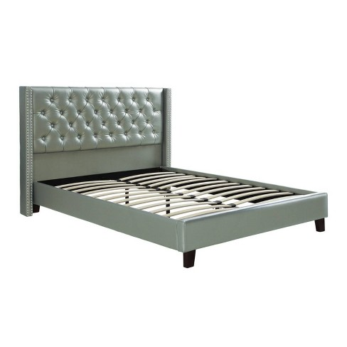 Faux Leather Upholstered Bed Featuring, Leather Upholstered Queen Size Bed Frame