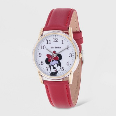 Women's Disney Minnie Mouse Two-Tone Cardiff Leather Strap Watch - Red