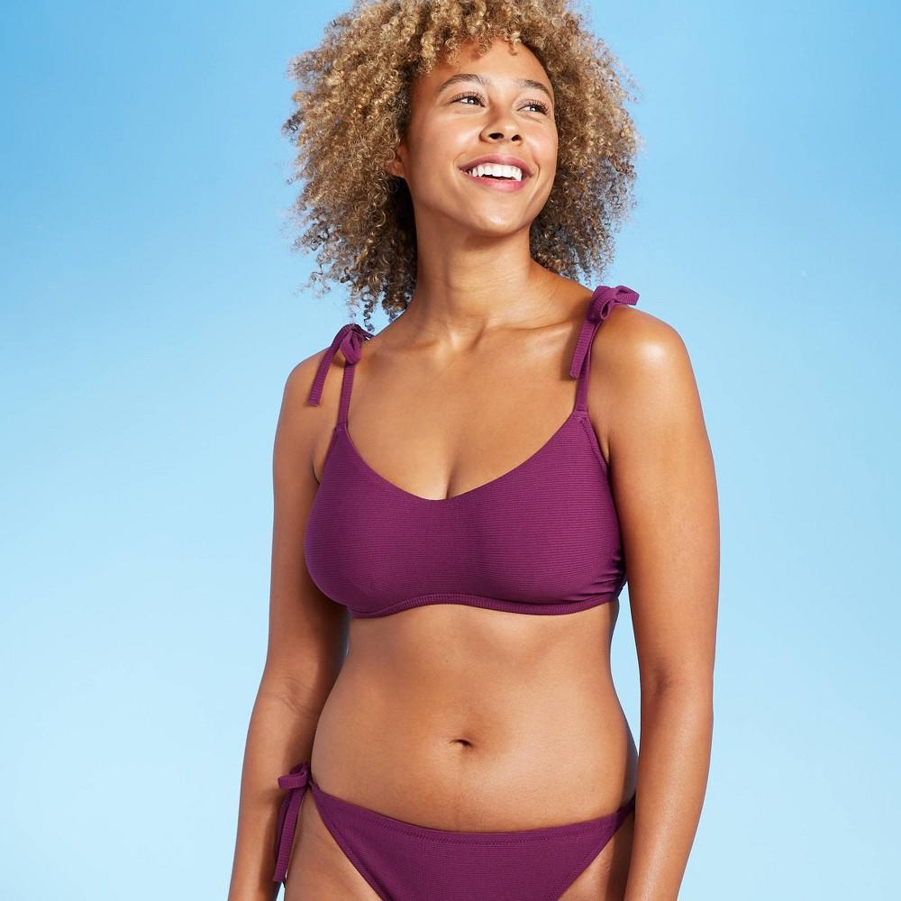 Women 39 S Tie Strap Textured Bralette Bikini Top Shade 38 Shore 8482 Acai 36dd