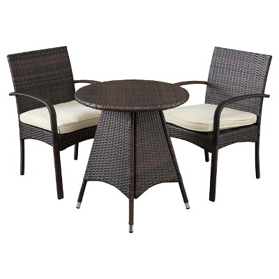 Peterson 3pc Wicker Patio Bistro Set with Cushions - Brown - Christopher Knight Home