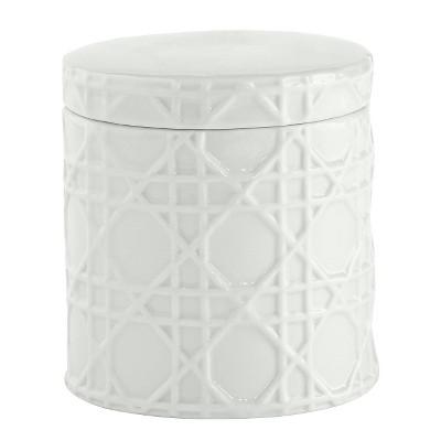 Rattan Cotton Jar White - Kassatex®