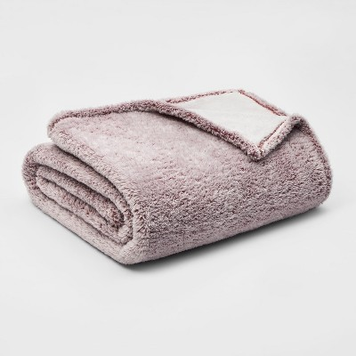 King Fuzzy Bottom Printed Blanket Chili - Threshold™