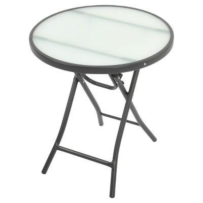 Round Glass Folding Patio Accent Table Clear - Threshold™