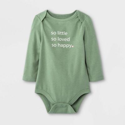 Baby 'So Little + So Loved + So Happy' Long Sleeve Bodysuit - Cat & Jack™ Olive Green Newborn