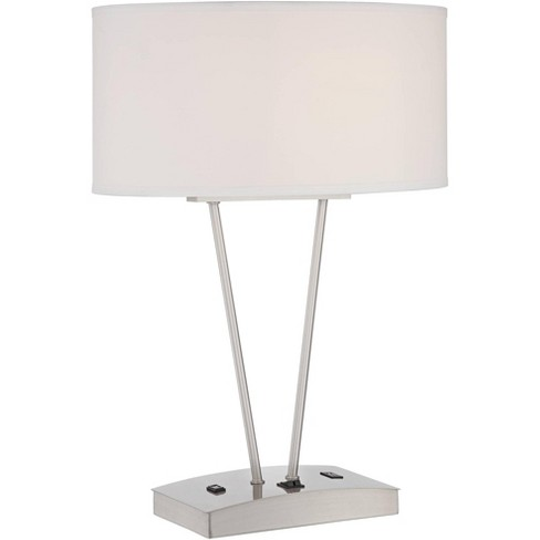 Possini Euro Design Modern Table Lamp with Hotel Style USB and AC Power Outlet in Base Silver White Oval Shade for Living Room Family Bedroom - image 1 of 4