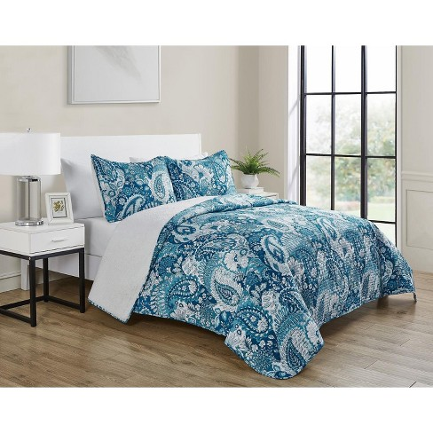 VCNY Home Brees Blue Paisley Reversible Sherpa Quilt Set - image 1 of 4