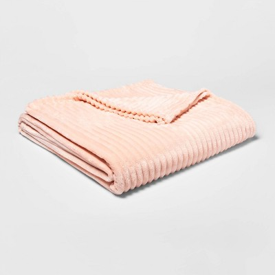Twin/Twin XL Ribbed Plush Bed Blanket Pink - Room Essentials™