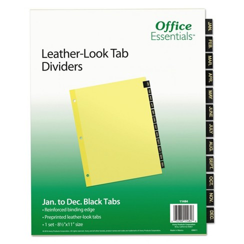 Avery® Office Essentials Printed Tab Index Divider Set, 12-Tab, Months, Black, 12/Set - image 1 of 2
