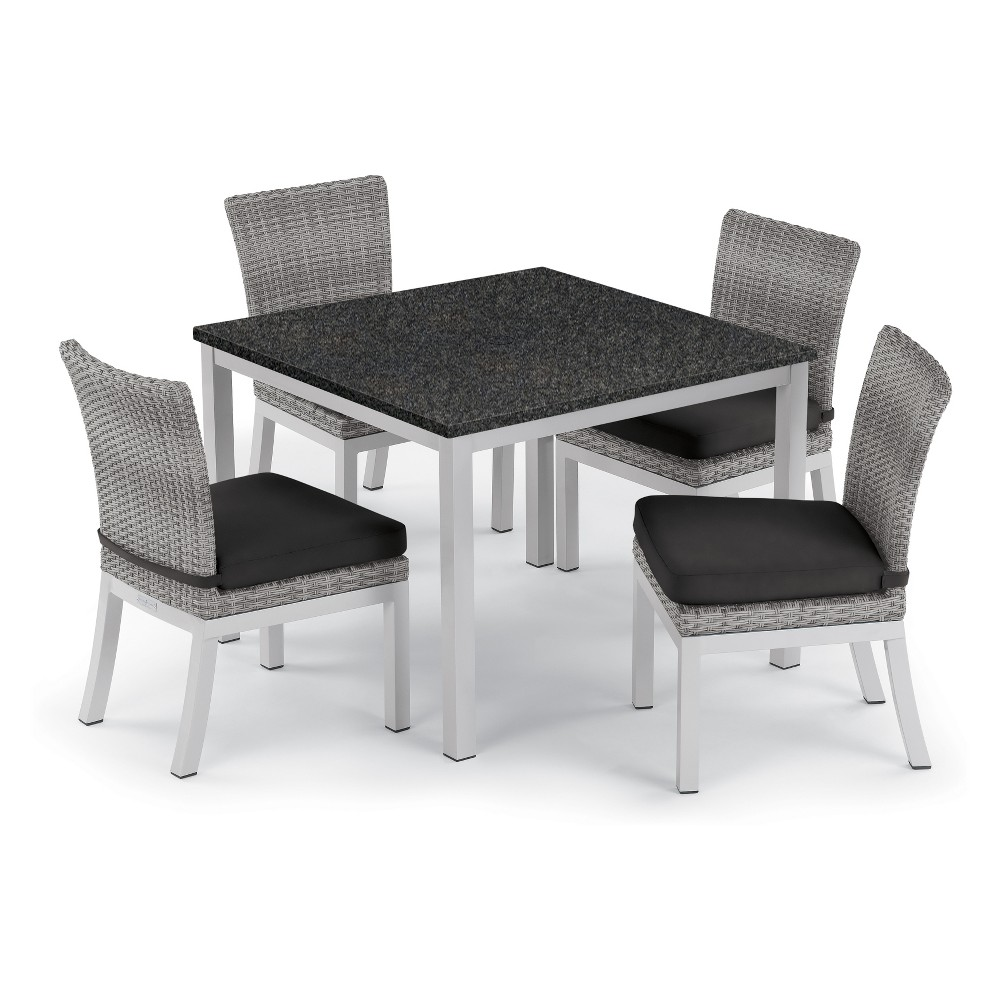 5pc Travira 39 Charcoal Dining Table & Argento Side Chair Set Jet Black Cushions - Oxford Garden
