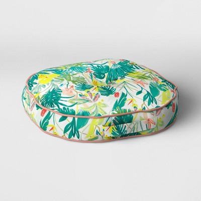 Opal Tropical Print Rounded Outdoor Floor Cushion DuraSeason Fabric™ White/Green - Opalhouse™